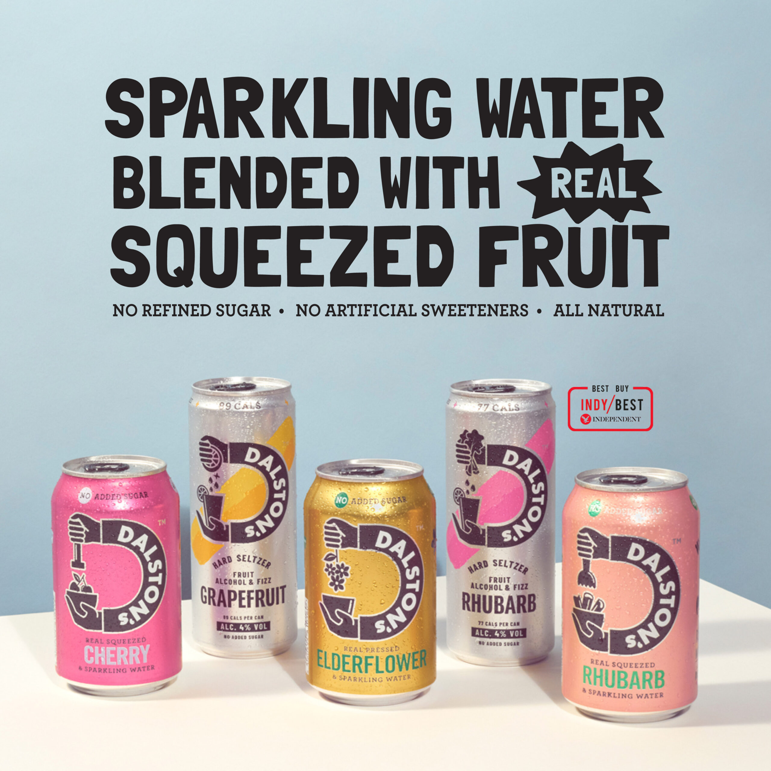 Dalston's sparkling water with real squeezed fruit